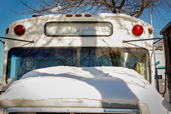 Tara Whitsitt's modified Michigan State Police bus featured in The New York Times