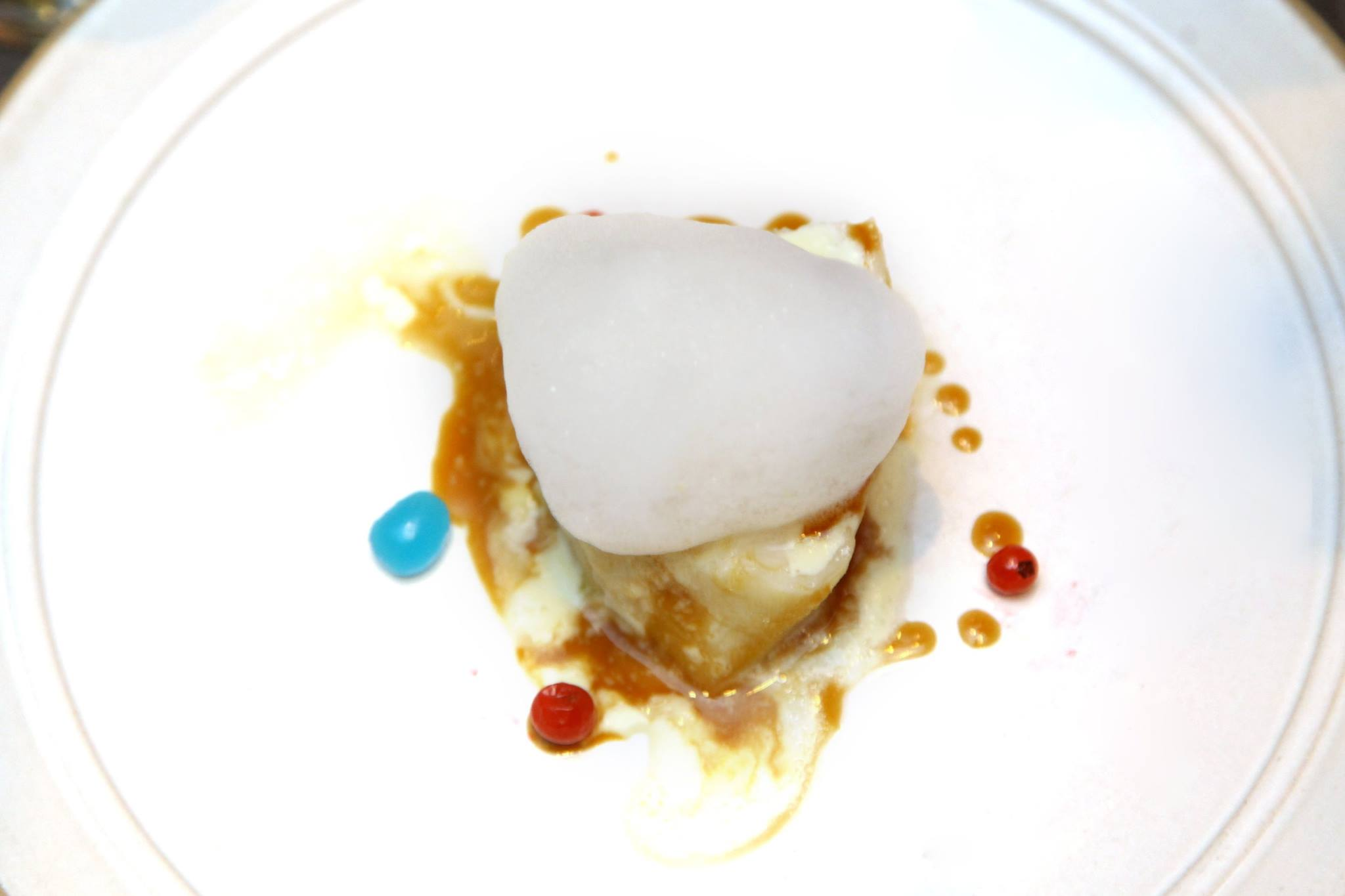 chefs-society-chef-hyun-seok-choi-from-korea-at-chefs-club-smoked-mero-with-cream-soy-butter-sauce-yuzu-foam-and-blue-vinegar-ball