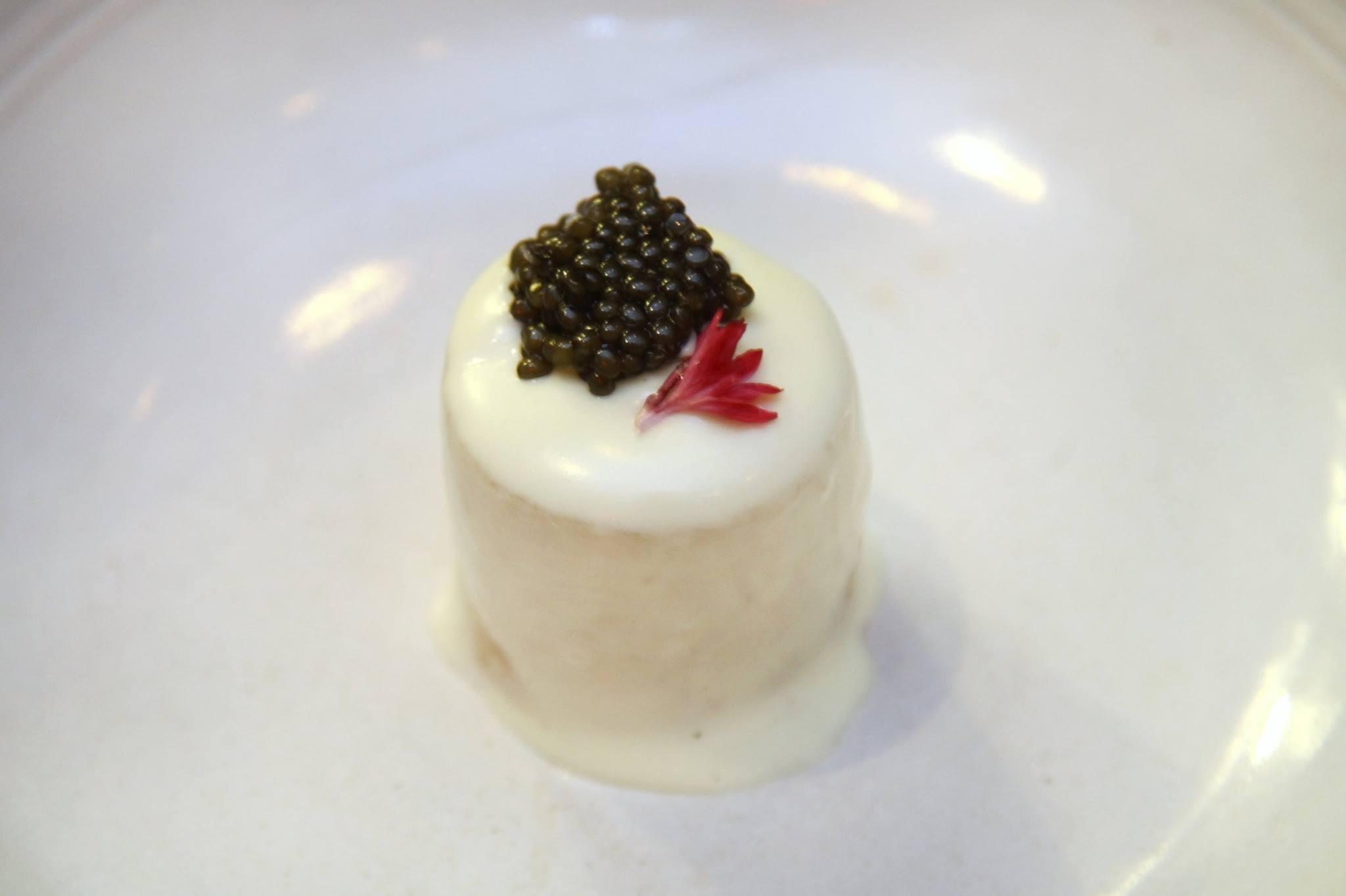 Sea Scallop and Braised Radish Covered with Cheese Espuma with Caviar and smoked Salmon Ice Cream